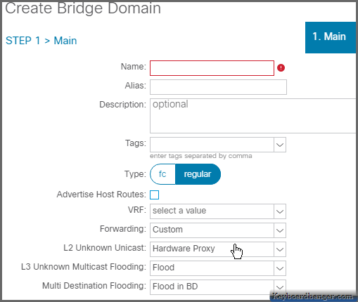 selecting how to handle the L2 Unknown Unicast traffic in an ACI bridge domain