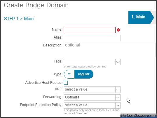 first menu in creating an ACI bridge domain