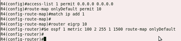 OSPF route redistribution into EIGRP with the use of a route map