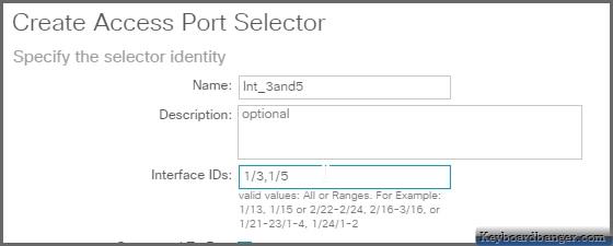 create access port selector menu