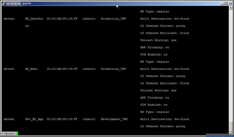 displaying configured ACI bridge domain in CLI