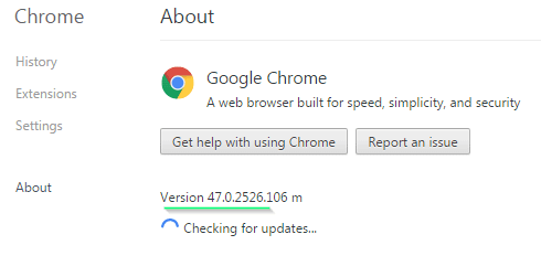 discovering chrome version