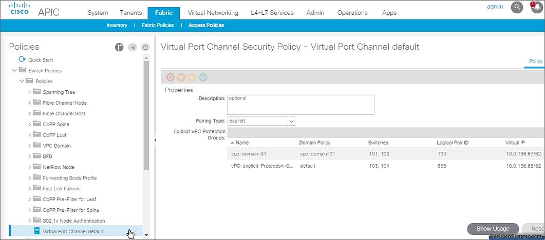 virtual port channel default in ACI release 3