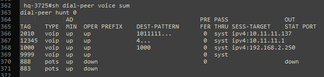 displaying a summary of the configured dial peers