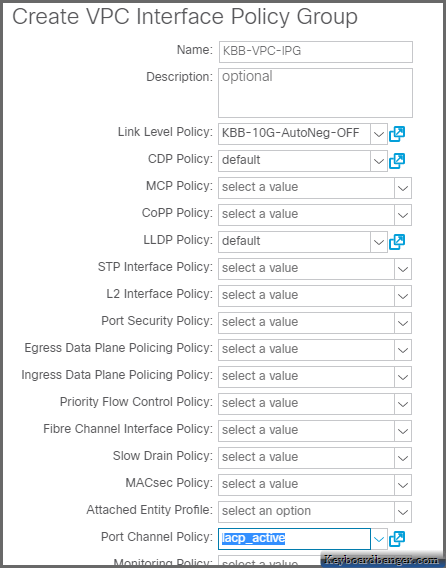 settings of a VPC Interface Policy Group