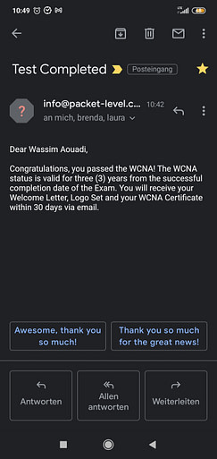 Wireshark exam result