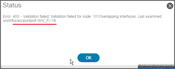 ACI error while selecting interfaces in an interface block