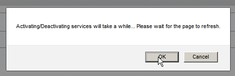 image popup while activating/deactivating a service