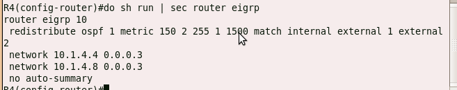 OSPF route redistribution with metric modification, matching internal and external prefixes