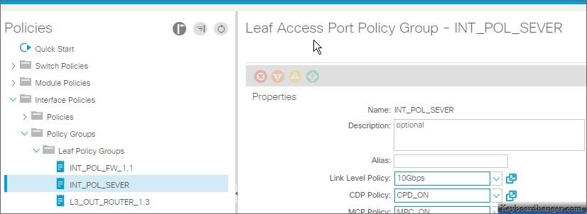 a port interface policy group