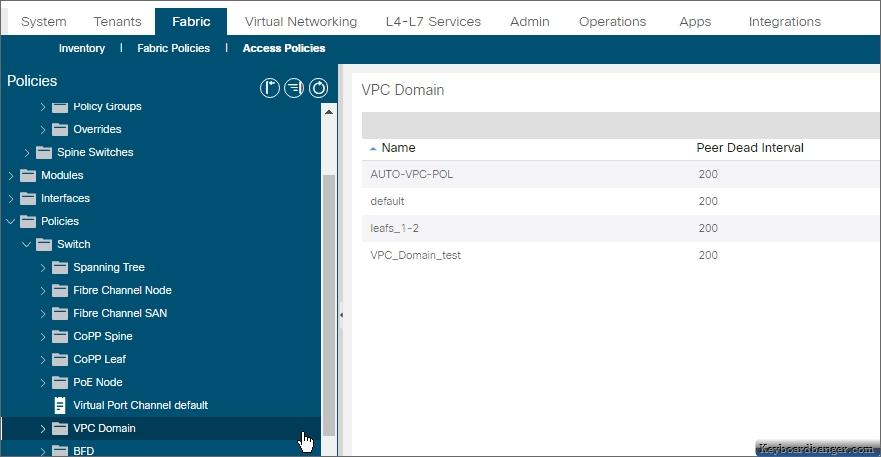 ACI vPC domain policies