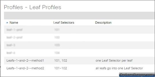both Leaf Switch Profiles appear in ACI
