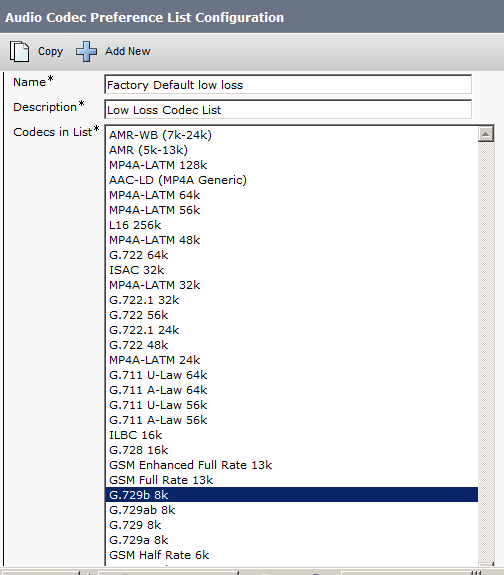 audio codec preference list