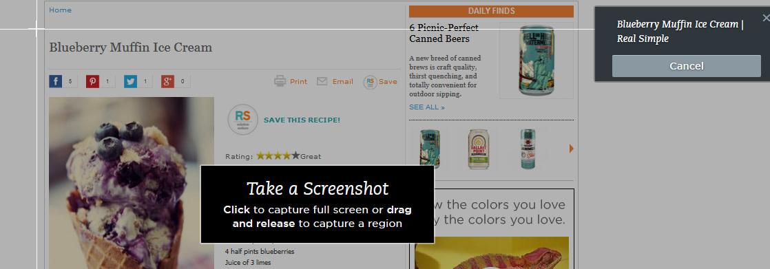 Screenshot mode in Web Clipper