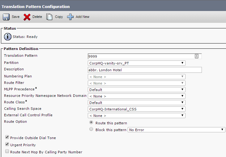 cucm translation patterns configuration menu